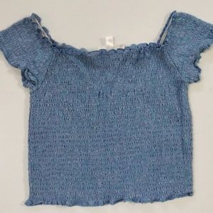 Baby / powder blue Smocked crop top Medium